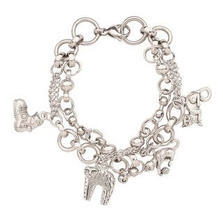Women's Crazy Cats Charm Bracelet - Cast Pewter Charms - Stainless Steel Link|https://ak1.ostkcdn.com/images/products/is/images/direct/c935eb2249bc9899c819b033a081fc00070a52a2/Women%27s-Crazy-Cats-Charm-Bracelet---Cast-Pewter-Charms---Stainless-Steel-Link.jpg?impolicy=medium