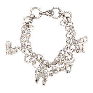 Women's Crazy Cats Charm Bracelet - Cast Pewter Charms - Stainless Steel Link