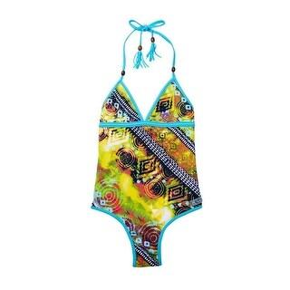 Azul Little Girls Yellow Native Threads Tassel Halter One Piece Swimsuit