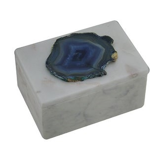 White Marble Trinket Box w/Blue Agate Stone Accent Lid
