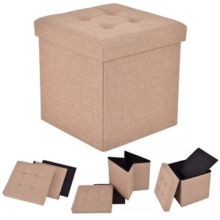 Costway Folding Storage Cube Ottoman Seat Stool Box Footrest Furniture  Decor Beige