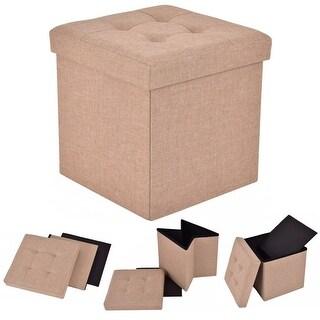 Costway Folding Storage Cube Ottoman Seat Stool Box Footrest Furniture  Decor Beige
