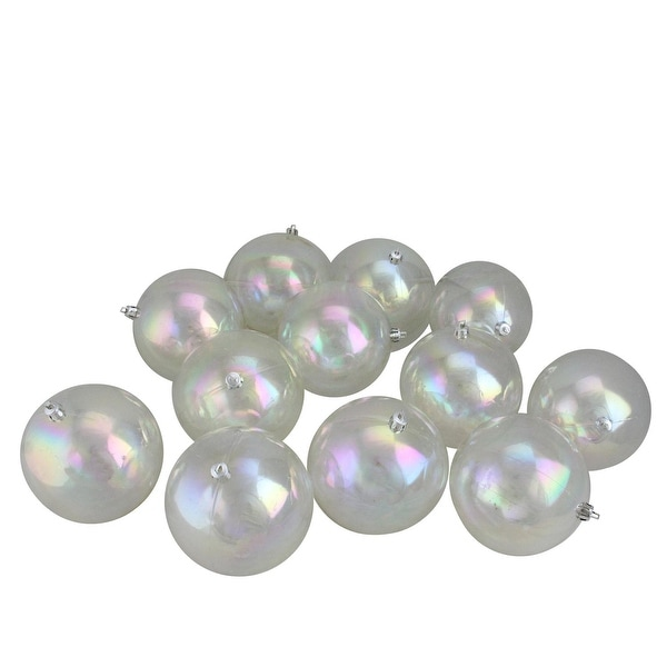 "12ct Clear Iridescent Shatterproof Shiny Christmas Ball Ornaments 4"" (100mm)"