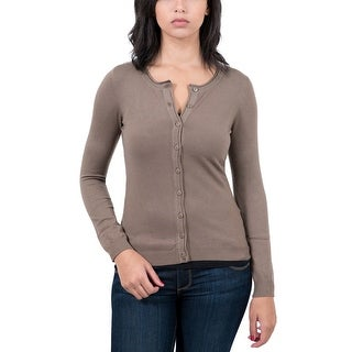 RC Cashmere Blend Brown Womens Crewneck Cardigan