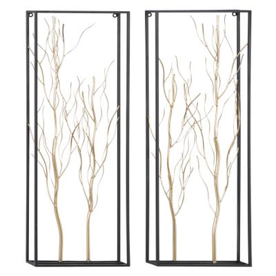 Gold Iron Glam Wall Decor Floral and botanical (Set of 2)
