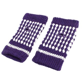 Unique Bargains Pair Winter Purple White Stretch Thumbhole Fingerless Warmer Gloves for Women