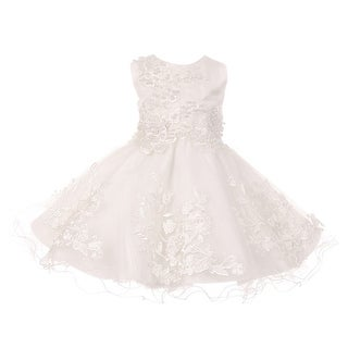Baby Girls White 3D Lace Patch Pearl Sequin Clear Bead Flower Girl Dress