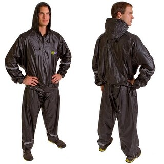 GoFit Hooded Thermal Training Sweat Suit Sauna Suit - Black