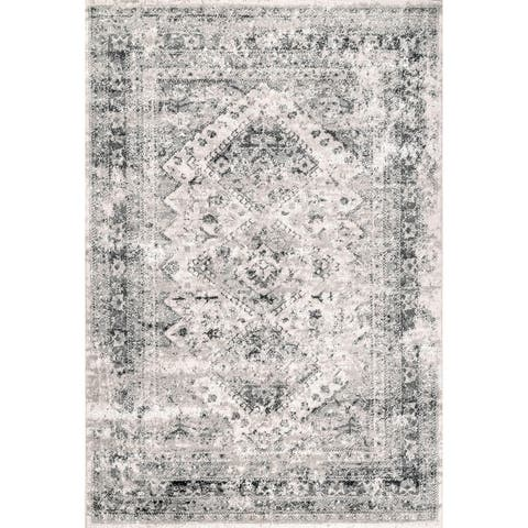 Porch & Den Transdec Vintage Distressed Diamonds Medallion Area Rug