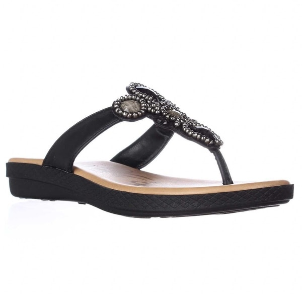 Easy Street Begem Embellished Thong Sandals, Black