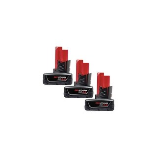 Replacement Battery For Milwaukee 2470-21 Power Tools - 48-11-2440 (4000mAh, 12V, Li-Ion) - 3 Pack