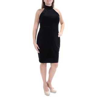 RALPH LAUREN Womens Black Velvet Sleeveless Turtle Neck Above The Knee Sheath Evening Dress Size: 12