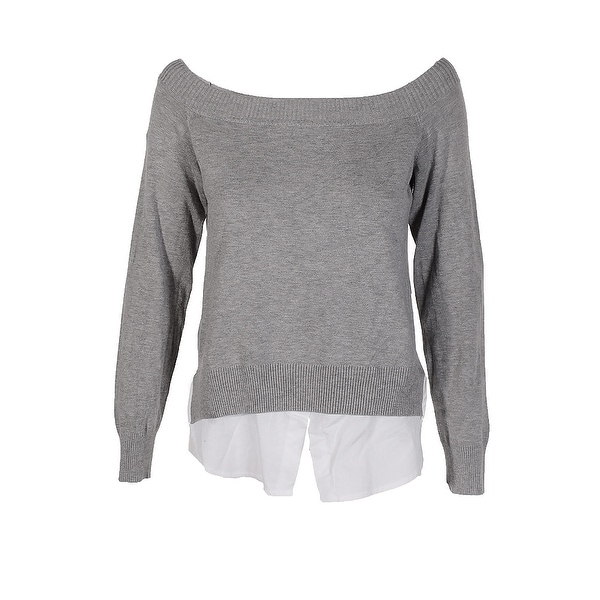 7c48f123e4 Shop Maison Jules Grey Layered Look Off-The-Shoulder Sweater S ...