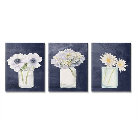 Stupell Industries Farmhouse Flower Bouquets Navy Blue White Painting,3pc, Canvas Wall Art