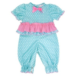 Laura Dare Baby Girls Blue Polka Dot Ruffle Trim Tie Pajama Jumper