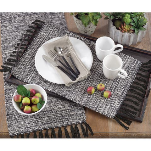 Black Cotton Table Runner with Tassels