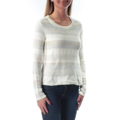KIIND OF Womens Ivory Striped Long Sleeve Jewel Neck Sweater Size: XS