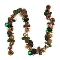 5' Green Burlap, Pine Cone, and Berry Artificial Christmas Garland - Unlit
