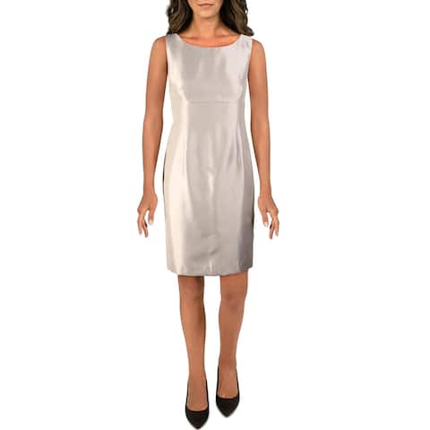 Le Suit Womens Petites Wear to Work Dress Shantung Sleeveless - Wild Dove - 12P