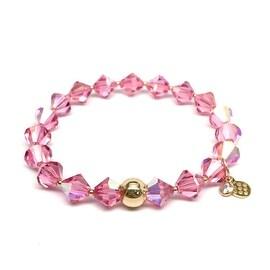 October Birthstone Color, Pink 'Rachel' Stretch Bracelet, Swarovski Crystal 14k over Sterling Silver