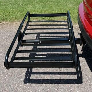 Sunnydaze Basket Hitch Mounted Cargo Rack & 2 Inch Receiver - 500 Pound Capacity