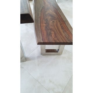 Rania Sheesham Wood/ Chrome Dining Bench by Greyson Living - 18 inches high x 59 inches wide x 16 inches deep
