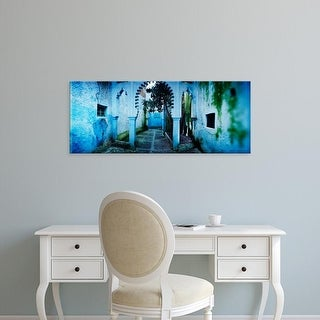 Easy Art Prints Panoramic Images's 'Painted wall of medina, Chefchaouen, Morocco' Premium Canvas Art