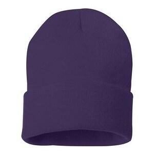 Sportsman 12 Inch Knit Beanie - Purple - One Size
