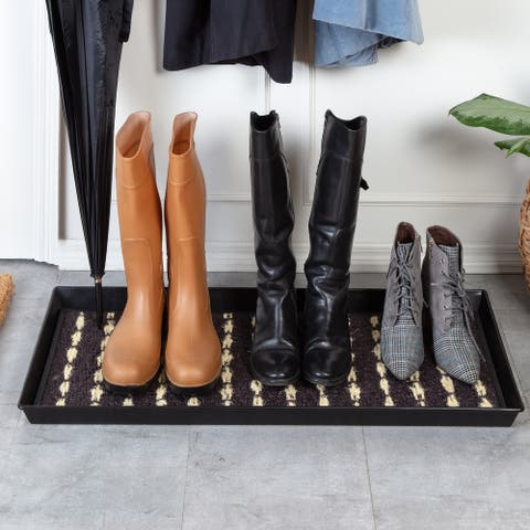 Jani Black Metal Boot Tray with Charcoal Gray & Ivory Coir Insert