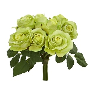 Nearly Natural Rose Bush Artificial Flower, Set of 2