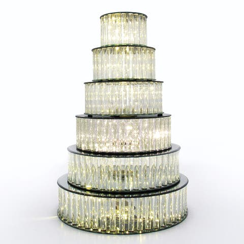 Round Mirror LED Fairy Light Up Glass Columns Cake Stand Dessert Display Tray Riser