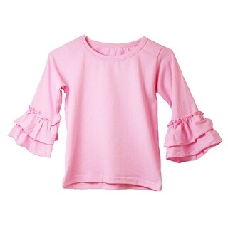 Girls Pink Double Tier Ruffle Sleeved Cotton Spandex Top 12M-7