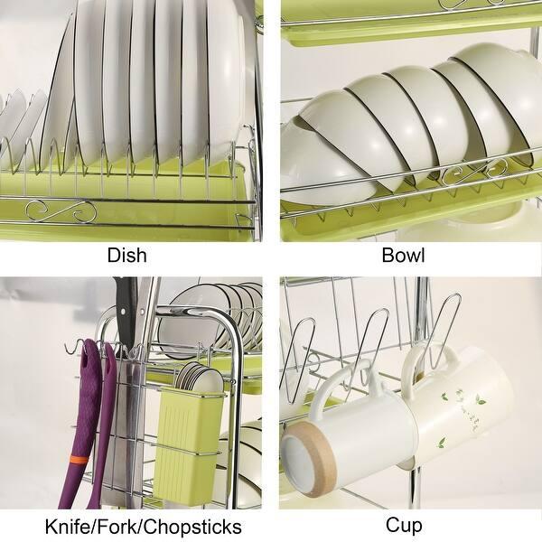 Shop 3 Level Chrome Dish Drying Rack Kitchen Dish Drainer ...