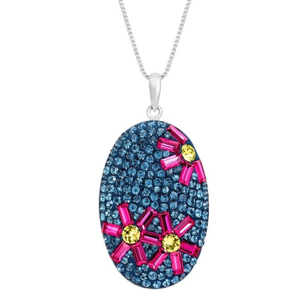 Flower Pendant with Swarovski Crystal in Sterling Silver - multi-color