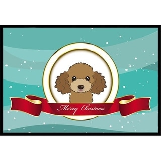 Carolines Treasures BB1566MAT Chocolate Brown Poodle Merry Christmas Indoor & Outdoor Mat 18 x 27 in.