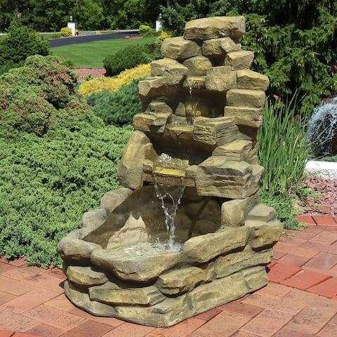 Sunnydaze Electric Outdoor Stone Falls Garden Patio Water Fountain - 37-Inch