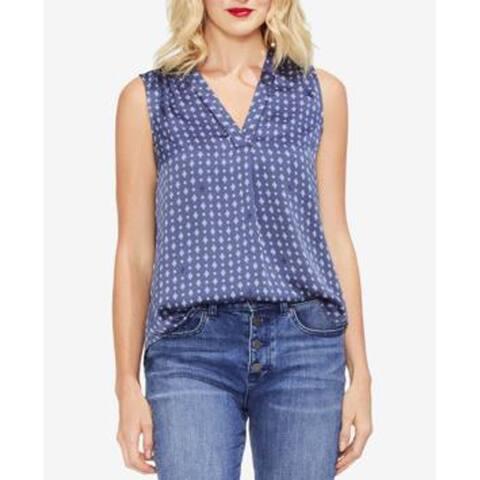 Vince Women's Geo Print Pleat Front Blouse, Antique Blue, Large
