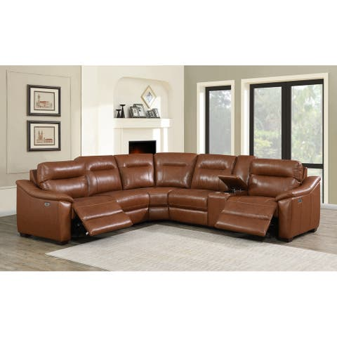 Copper Grove Celina Leather Power Reclining Sectional