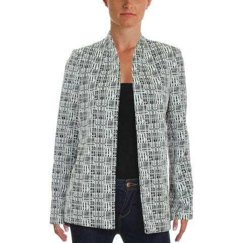 Calvin Klein Womens Petites Collarless Blazer Printed Open Front - 10P