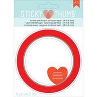 "Sticky Thumb Double-Sided Super Sticky Red Tape-.25""X5yd"