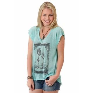 Roper Western Shirt Womens S/S Print Aqua 03-039-0714-2007 BU - 2x