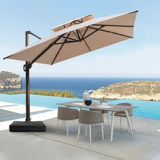 Link to Crestlive Products Outdoor 10-foot Double Top Square Offset Umbrella Similar Items in Patio Umbrellas & Shades