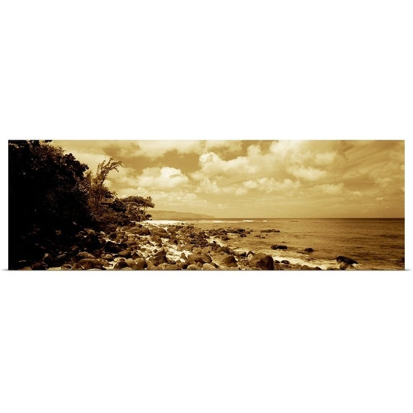 """Rocks on the beach, Leftovers Beach Park, North Shore, Oahu, Hawaii"" Poster Print"