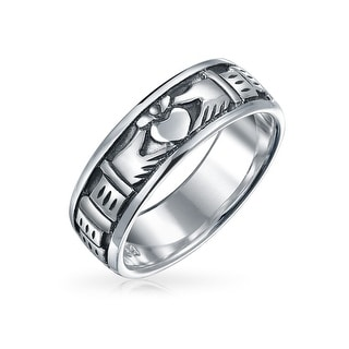 Sterling Silver Antique Styled Finish Claddagh Band Ring