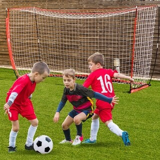 12' x 6' Soccer Goal Durable Bow Style Net Quick Setup Soccer Training w/ Bag - Red