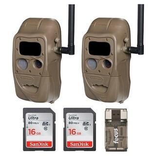 Cuddeback CuddeLink Flash 20MP Trail Camera (2) with 16GB Card (2) and Reader