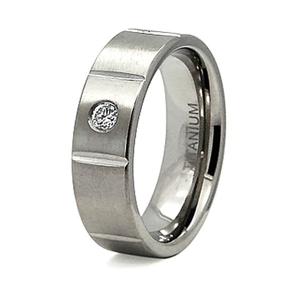 7mm Titanium Ring with CZ (Sizes 8-12)
