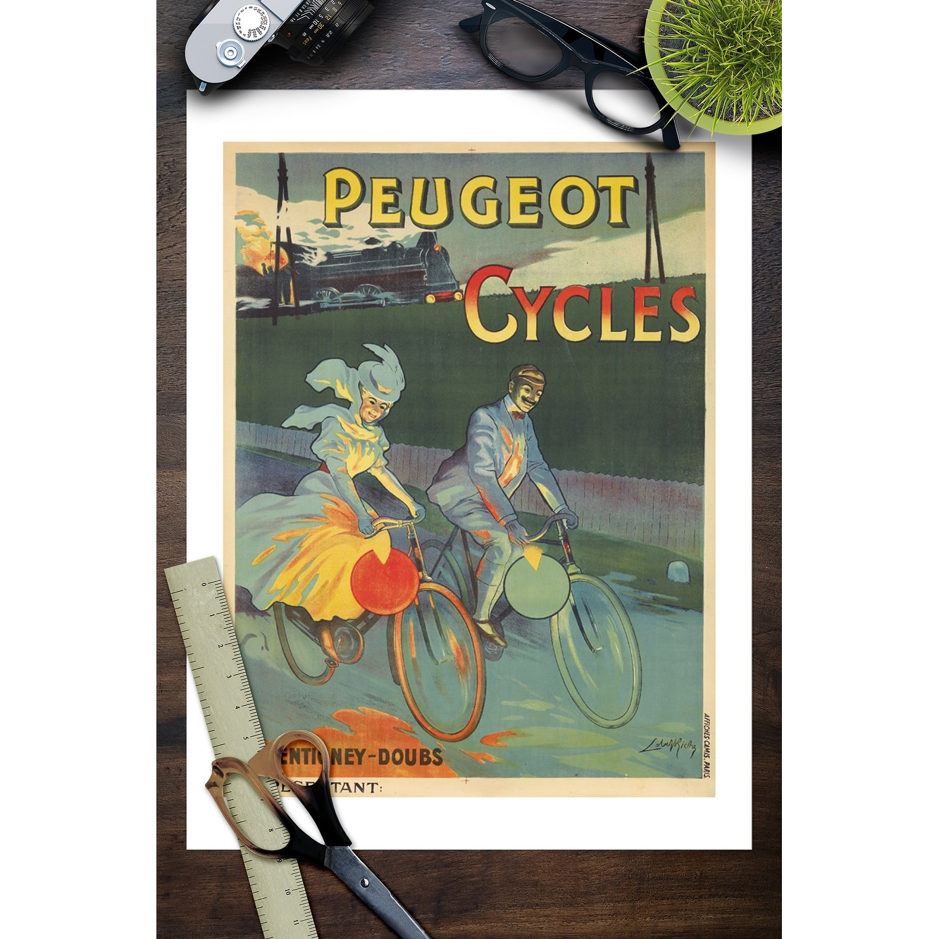 Peugeot Wall art. Vintage Cycling advertising Reproduction poster