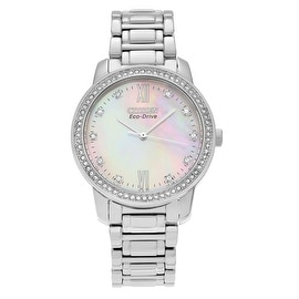 Citizen Women's EM0110-51D 'Eco Drive' Stainless Steel Mother of Pearl Crystal Link Watch