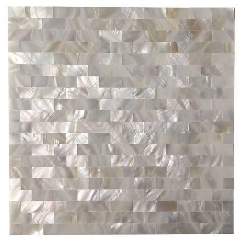 Art3d Mother of Pearl Shell Tile for Kitchen Backsplash/Bathroom White Rectangle Seamless 10-Pack